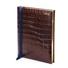 Quarto A4 Day to Page Leather Diary in Deep Shine Amazon Brown Croc