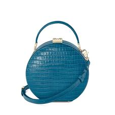 Mini Hat Box Bag in Deep Shine Topaz Small Croc