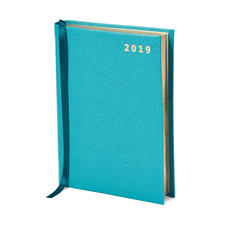 A6 Day to Page Leather Diary in Turquoise Saffiano