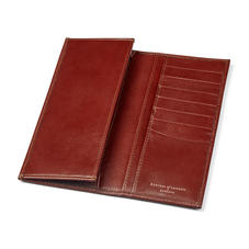 Slim Breast Pocket Wallet in Smooth Cognac & Espresso Suede