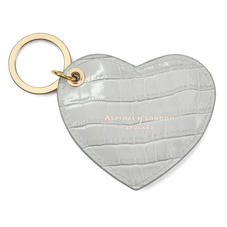Heart Keyring in Deep Shine Dove Grey Small Croc