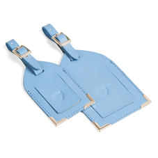 Set of 2 Luggage Tags in Bluebird Saffiano
