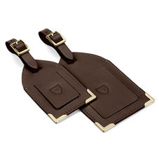 Set of 2 Luggage Tags in Smooth Dark Brown