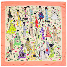 Giles x Aspinal (Ladies Silk Scarf - Coral)