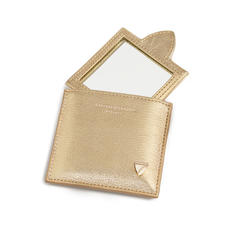 Compact Mirror in Pale Gold Pebble