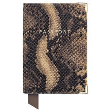 Passport Cover in Tan Snake Print