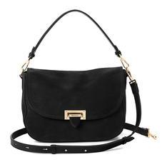 Slouchy Saddle Bag in Black Nubuck