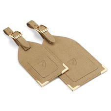 Set of 2 Luggage Tags in Camel Saffiano