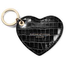 Heart Keyring in Deep Shine Black Small Croc