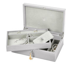 Savoy Jewellery Box in Deep Shine Dove Grey Small Croc