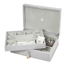 Grand Luxe Jewellery Case in Deep Shine Dove Grey Small Croc