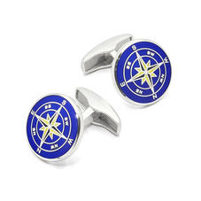 Sterling Silver Compass Rose Cufflinks in Mid Blue Enamel