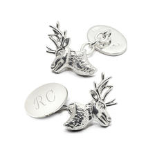 Sterling Silver Personalised Stag Head Cufflinks