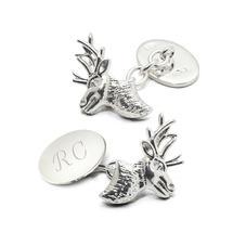 Sterling Silver Personalised Stag Head Cufflinks