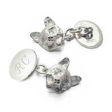 Sterling Silver Personalised Fox Head Cufflinks