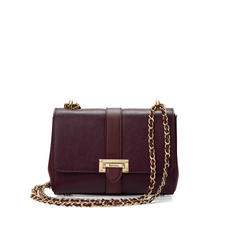 Small Lottie Bag in Burgundy Saffiano