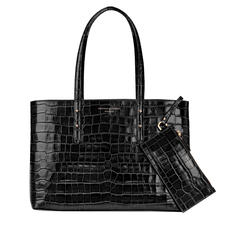 Regent Tote in Black Croc