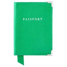 Passport Cover in Grass Green Lizard & Cream Suede