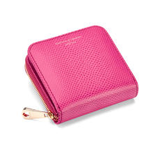 Mini Continental Zipped Coin Purse in Raspberry Lizard