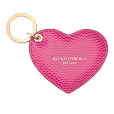 Heart Key Ring in Raspberry Lizard