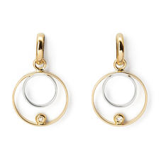 Ariana 18ct White & Yellow Gold Double Ring Diamond Earrings