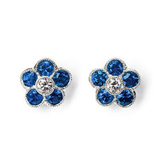 Athena 18ct White Gold Sapphire & Diamond Cluster Stud Earrings