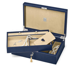 Savoy Jewellery Box in Midnight Blue Lizard