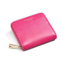 Slim Mini Continental Purse in Raspberry Lizard