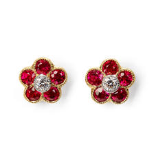 Athena 18ct Gold Ruby & Diamond Cluster Stud Earrings