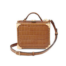 Mini Trunk Clutch in Deep Shine Vintage Tan Croc