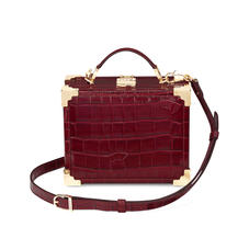 Mini Trunk Clutch in Deep Shine Bordeaux Croc