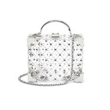 Mini Trunk Clutch in Diamond Cut Transparent Acrylic with Silver Crystals