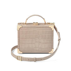 Mini Trunk Clutch in Deep Shine Soft Taupe Croc