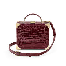 Mini Trunk Clutch in Bordeaux Patent Croc