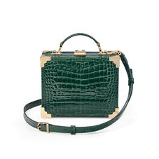 Mini Trunk Clutch in Evergreen Patent Croc