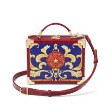 Mini Trunk Clutch in Deep Shine Red Croc with Rosette Embroidery