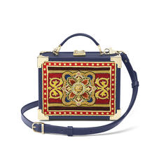Mini Trunk Clutch in Navy Kaviar with Tudor Embroidery