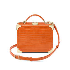 Mini Trunk Clutch in Deep Shine Amber Small Croc