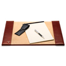 Desk Blotter in Smooth Cognac & Stone Suede