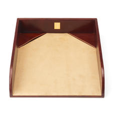 Paper Tray in Smooth Cognac & Stone Suede