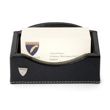 Business Card Holder in Smooth Black & Stone Suede