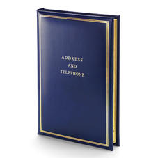 Classic Large Address Book in Smooth Sapphire Blue