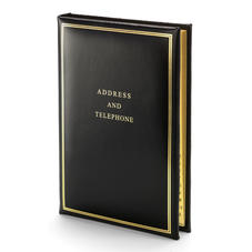 Classic Large Address Book in Smooth Black