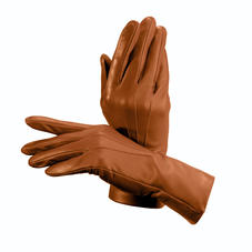Ladies Cashmere Lined Leather Gloves in Tan