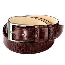 Classic Men's Belt in Deep Shine Amazon Brown Croc
