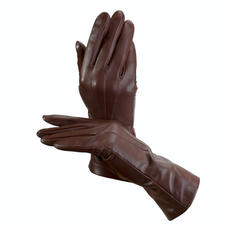 Ladies Cashmere Lined Leather Gloves in Brown