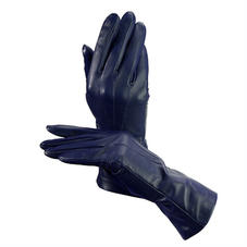 Ladies Cashmere Lined Leather Gloves in Navy