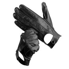 Men's Leather Driving Gloves in Black