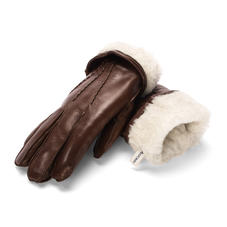 Mens Sheepskin Lined Leather Gloves in Brown Nappa