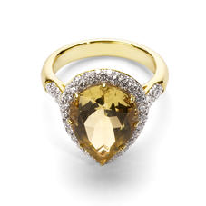 Hollywood Teardrop Lemon Quartz & Diamond Ring
